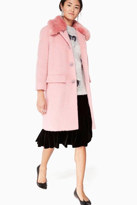 Kate Spade Faux Fur Trim Coat