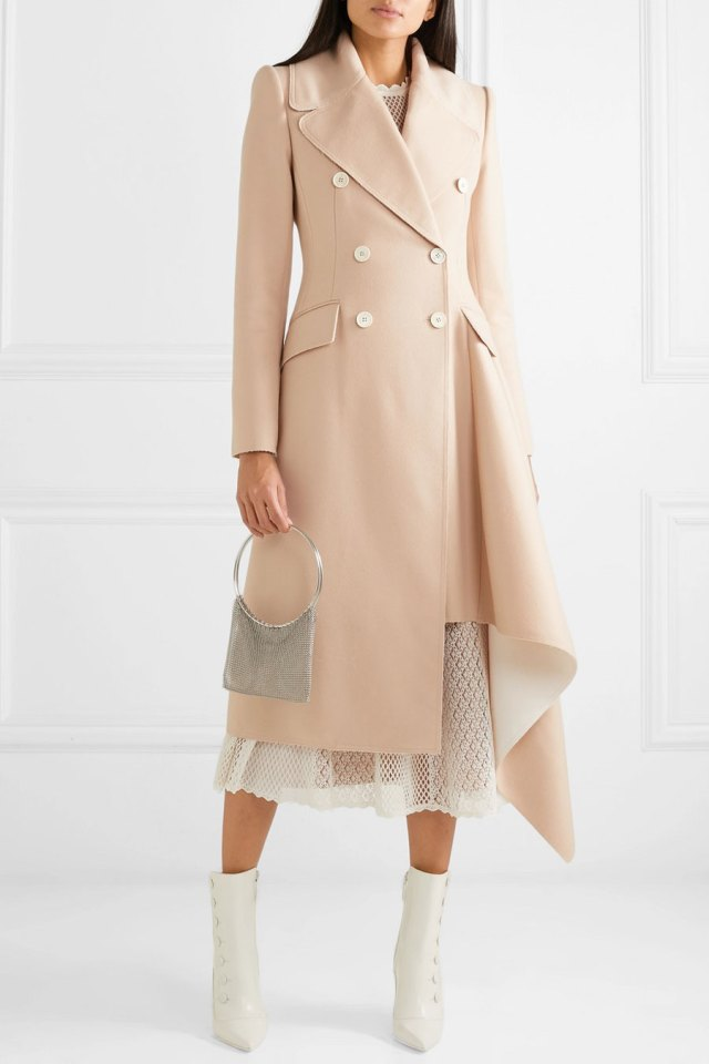 ALEXANDER MCQUEEN Asymmetric Double-breasted-Frayed-Wool-and-Cashmere-blend Coat