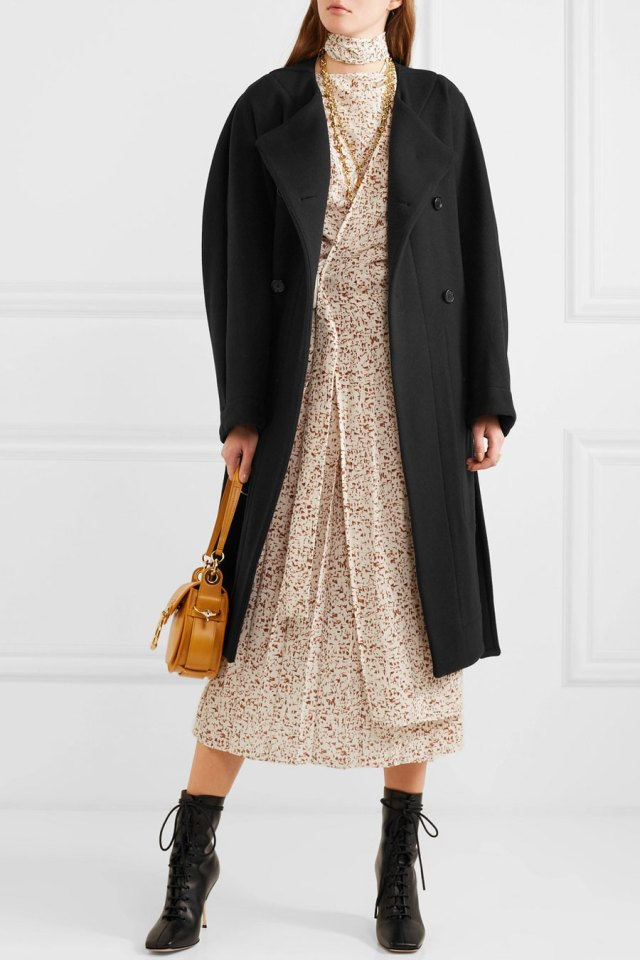 CHLOÉ Belted Double-breasted Wool-blend Felt Coat