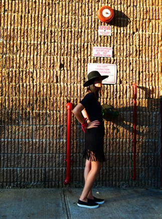 Fringe skirt, felt hat and bandana OOTD via youmademelikeyou.com