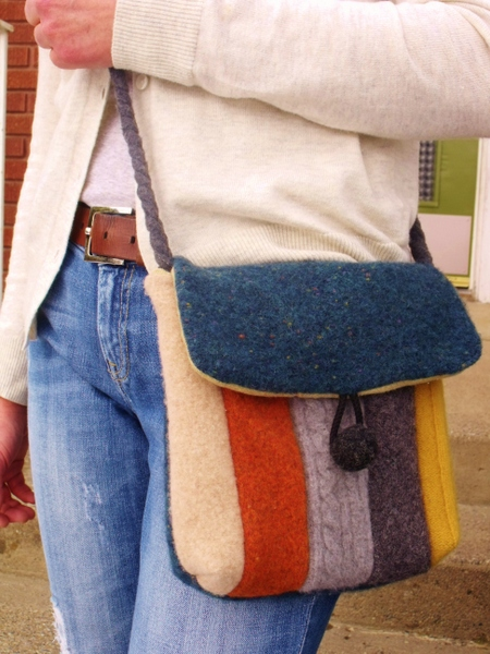 Upcycled felted wool hip purse