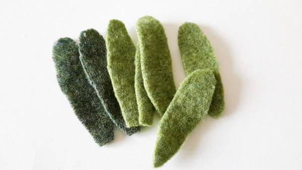 felted wool leaves