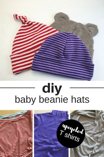 upcycled t shirt baby beanie