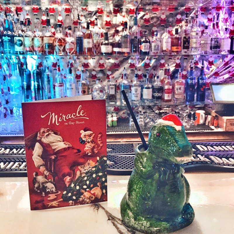 T Rex Santa cup at Sapphire restaurant and bar in Knoxville, Tennessee