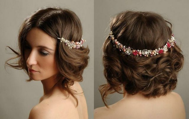 bridal hairstyle with crown