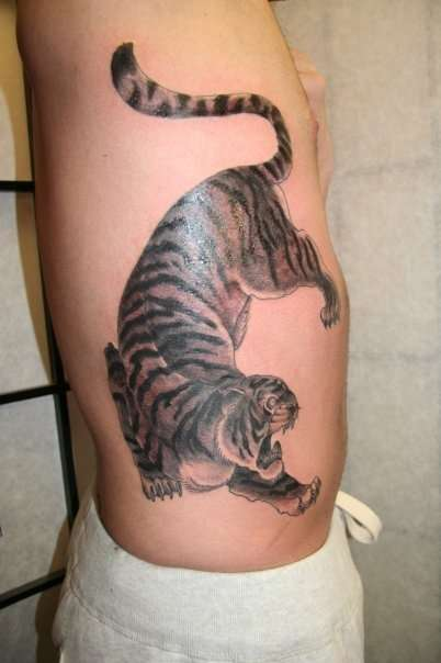 Tiger Rib Tattoo For Men