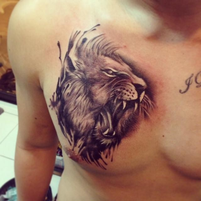 Lion Tattoo On Chest For Men