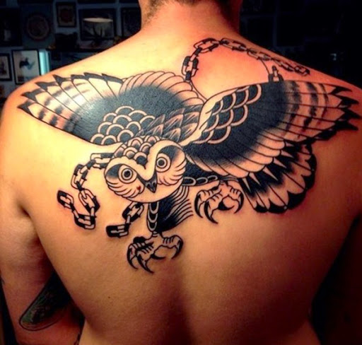 Owl Tattoo On Back For Men