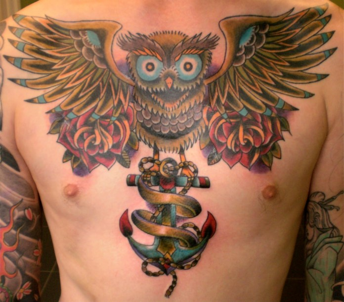 Owl With Anchor Chest Tattoo Design For Men