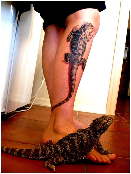 Lizard Calf Tattoo Design For Men