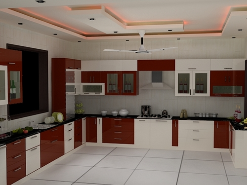 example for your kitchen interior with modular furniture and chimney