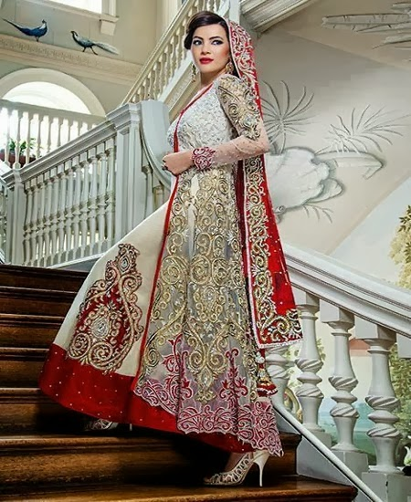 best red and white bridal lahanga