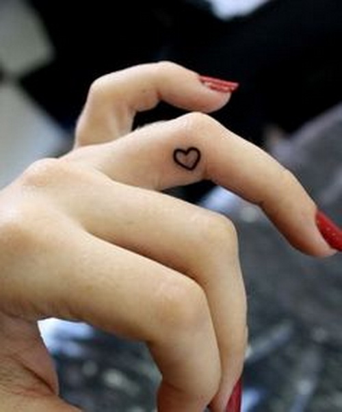 cute heart tattoo design on finger