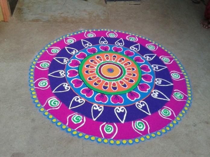 colorful circular diwali rangoli design