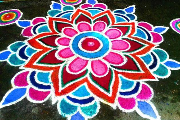 bright colored rangoli design