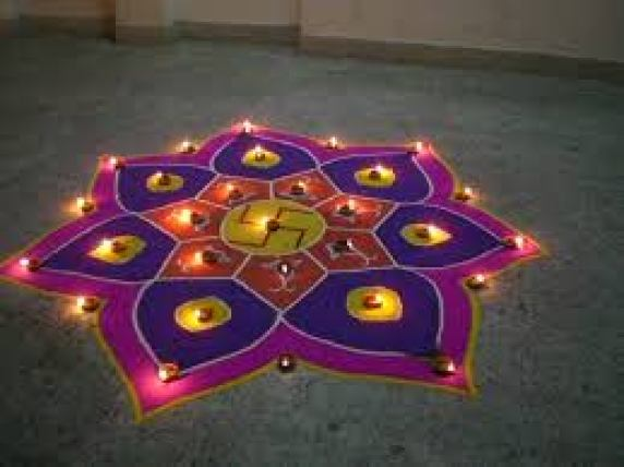 swastik rangoli design for diwali
