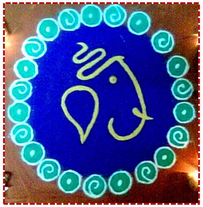 god ganesha rangoli for diwali puja