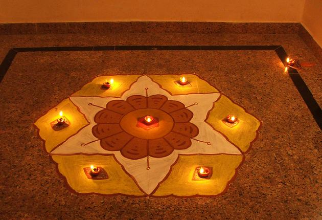 diya rangoli design for diwali