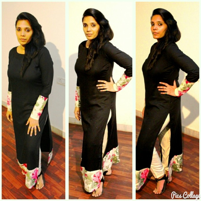 straight pants with long kurtis