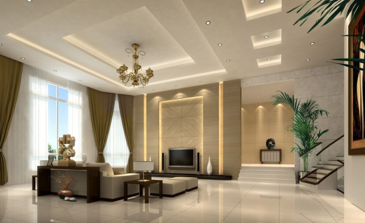 The Attractive POP false ceiling design looks as if it is a part of a Villa  or Bungalow. The Beautiful Ceiling Design with lots lights fitted looks so  ... - 25 Latest False Designs For Living Room & Bed Room