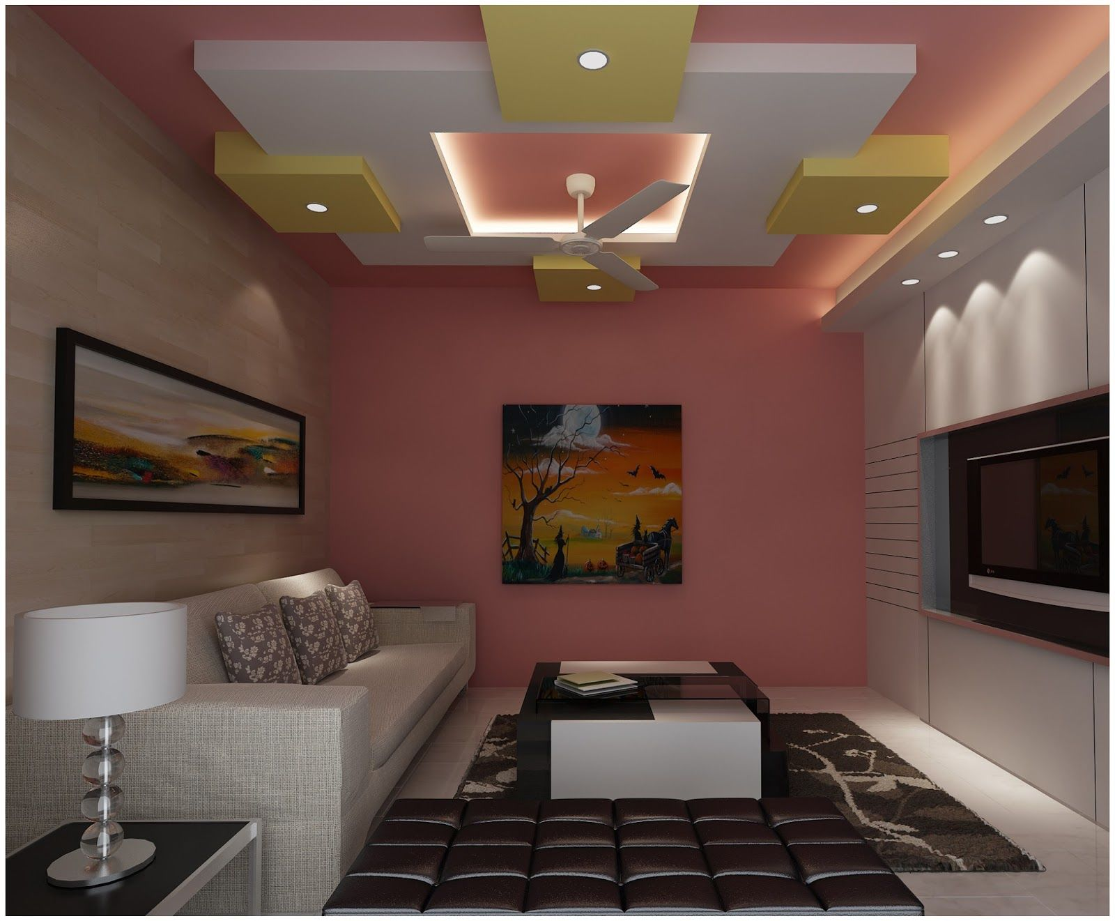 One Of The Latest Pop False Ceiling Design For Indian Homes The Yellow Blocks On Four Sides Of The White Ceiling Looks So Beautiful That Anybody Would Want