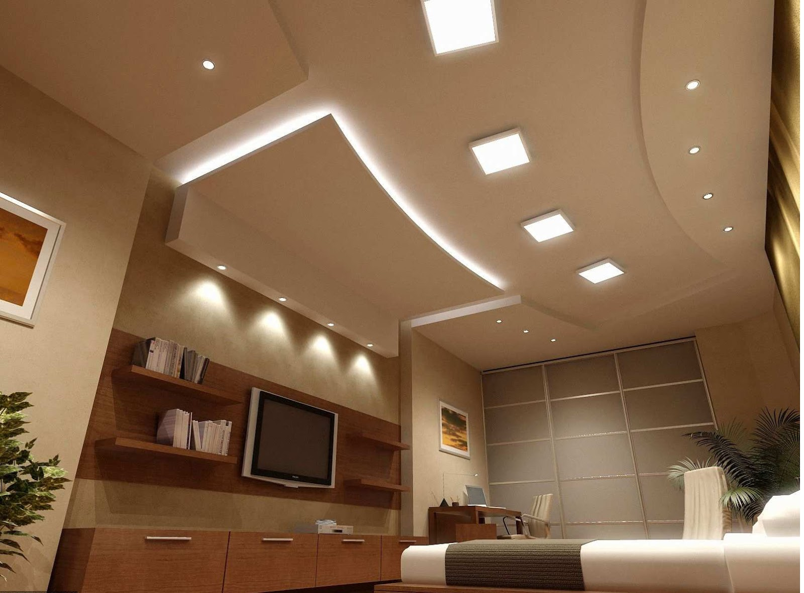 the led fitted pop false ceiling for bedroom looks really modernand hence the modern bedroom interior looks quite beautiful - Living Room Pop Ceiling Designs