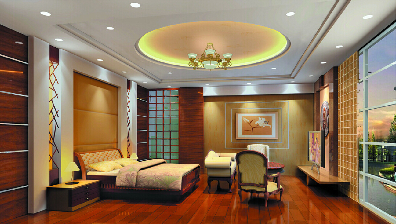 the round shaped pop false ceiling design for bedroom looks beautiful and room looks like a bedroom in a bungalow or villa the total look of the room is - Living Room Pop Ceiling Designs