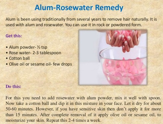 alum and rose water Mix To Remove Facial Hair