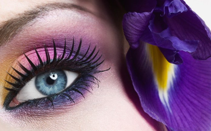 pink purple smoky eyes