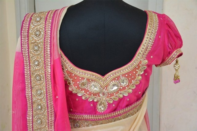 pink bridal blouse design