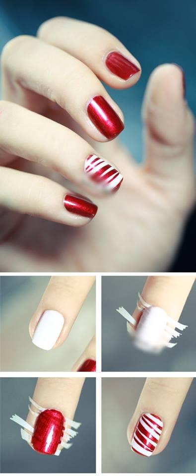 red and white nai art design
