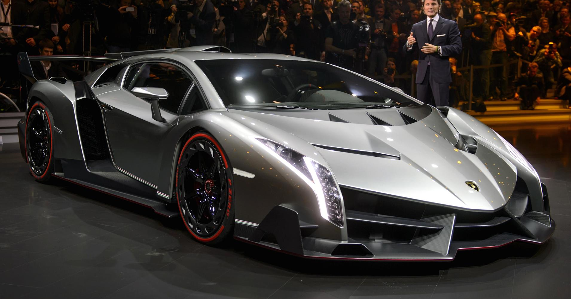 The second most expensive car on the earth lamborghini veneno roadster the luxury shown is convertible and was produced in 2014 on the occasion of 50th