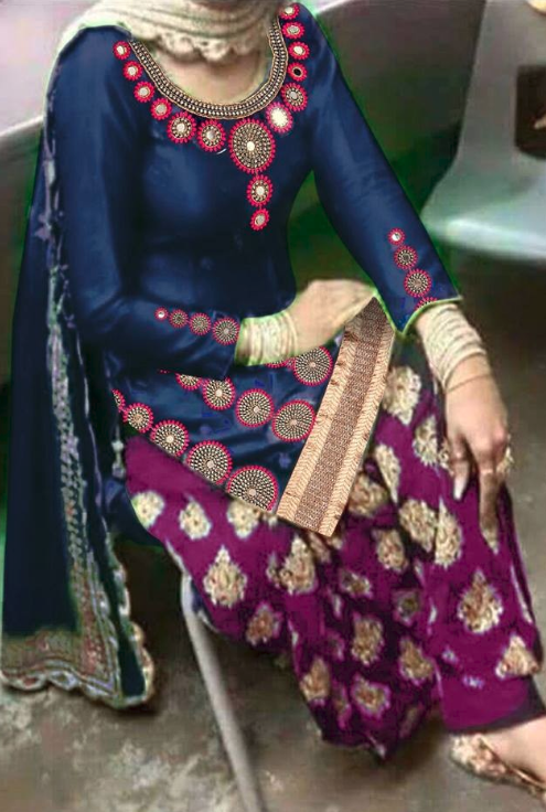 Embellished Neck Punjabi Suit Design