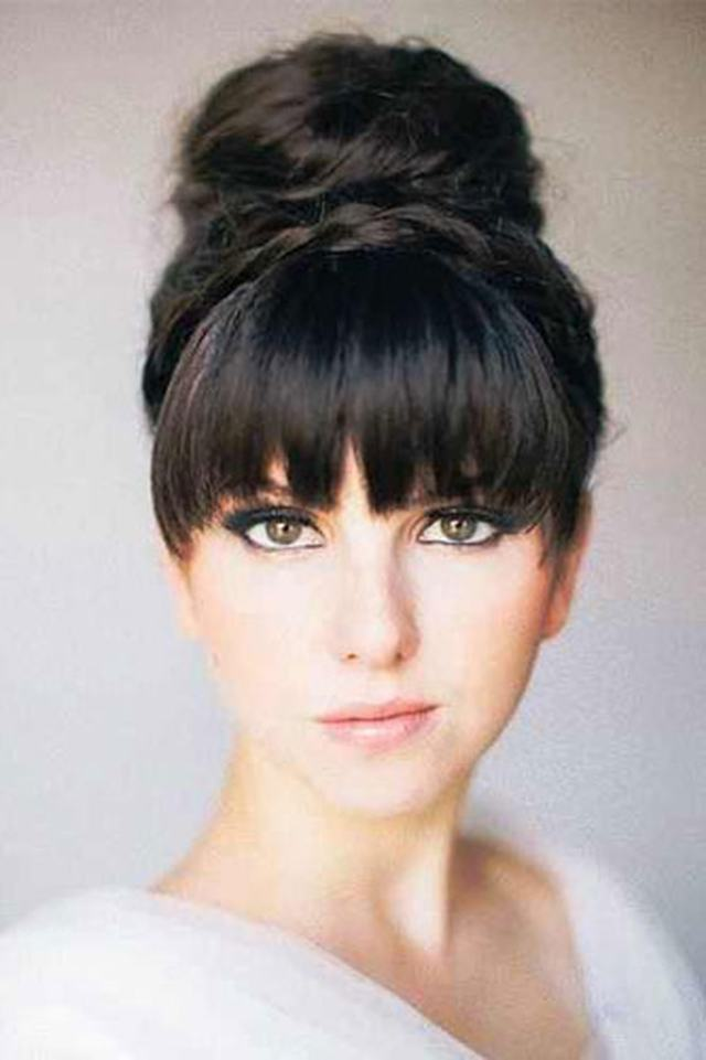 updo with bangs