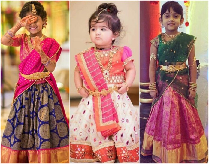 South Indian Lehenga Pattern for Kids