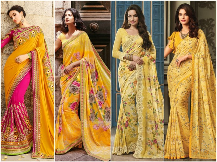 Yellow Georgete Saree Online
