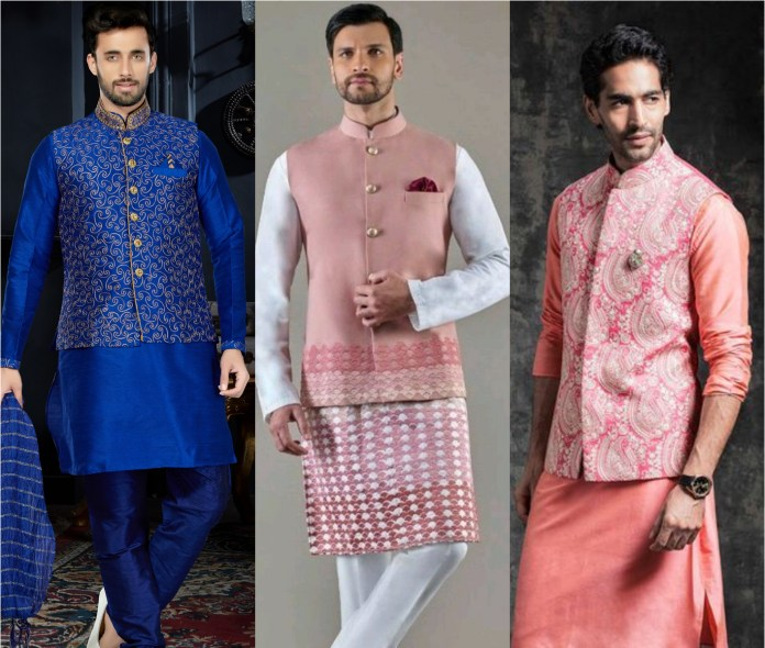 Kurta  Pajama with Embroidery Motif Jacket