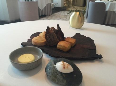 Impressive bread - thyme brioche, sourdough, pumpkin focaccia with french butter and lard