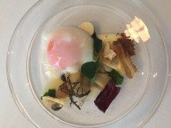 Pine-smoked egg with 'forgotten vegetables'