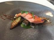 Aquitane rainbow trout with pork belly