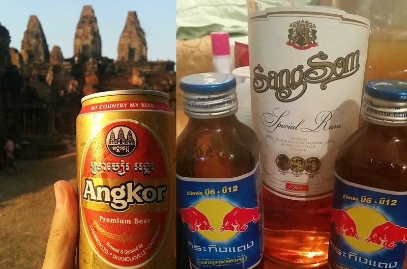 A can of Angkor and bottle of Sangsom