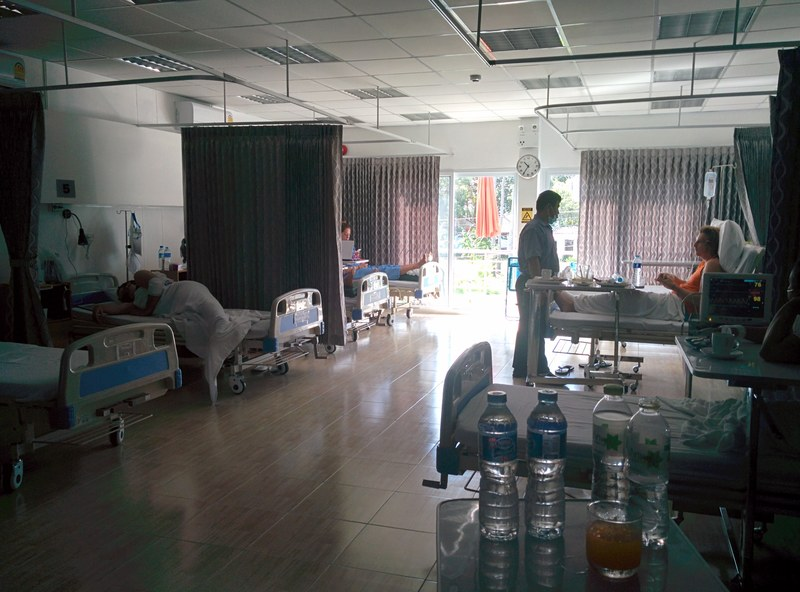 In hospital for dengue fever in Thailand