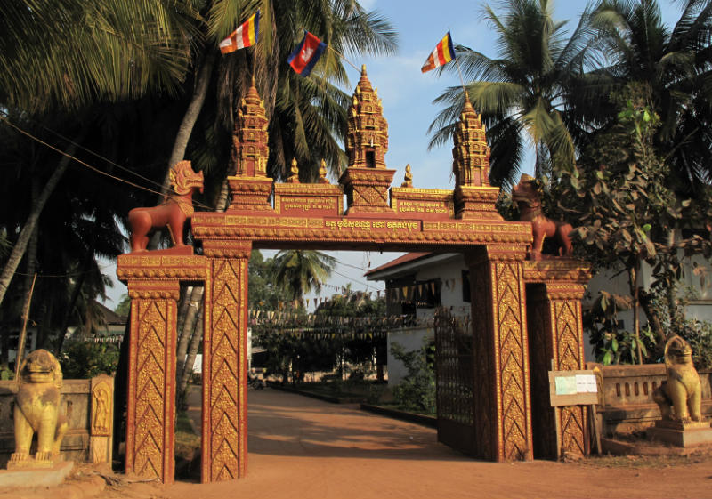 Buddhist temple gate in Siem Reap, Cambodia