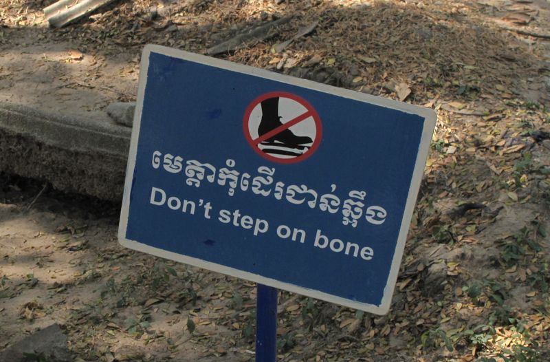 Don't step on bone sign