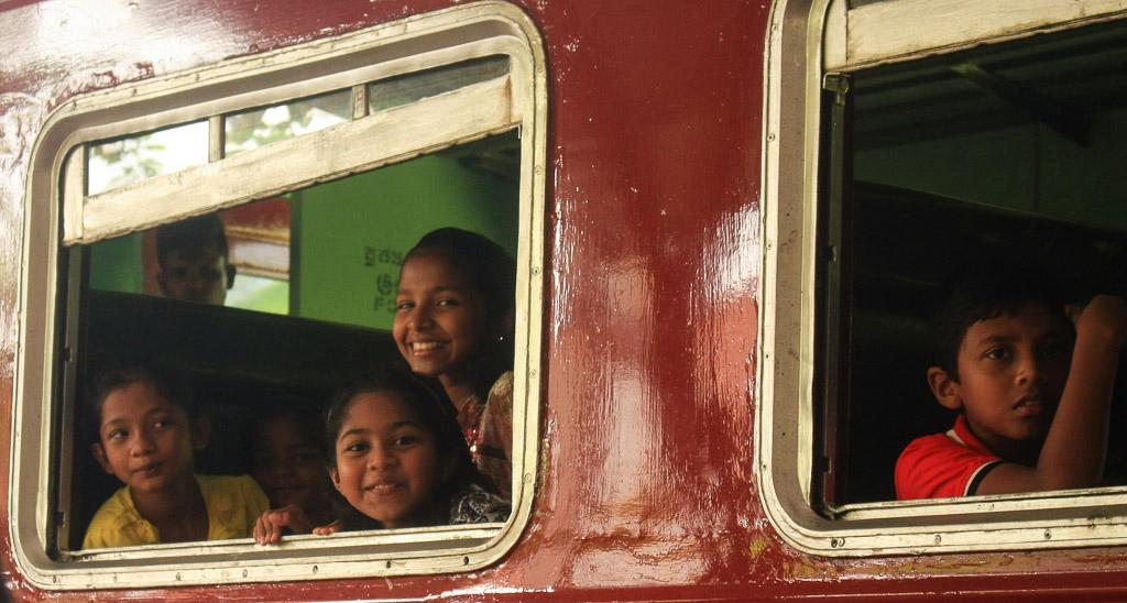 Sri Lankan girls on train