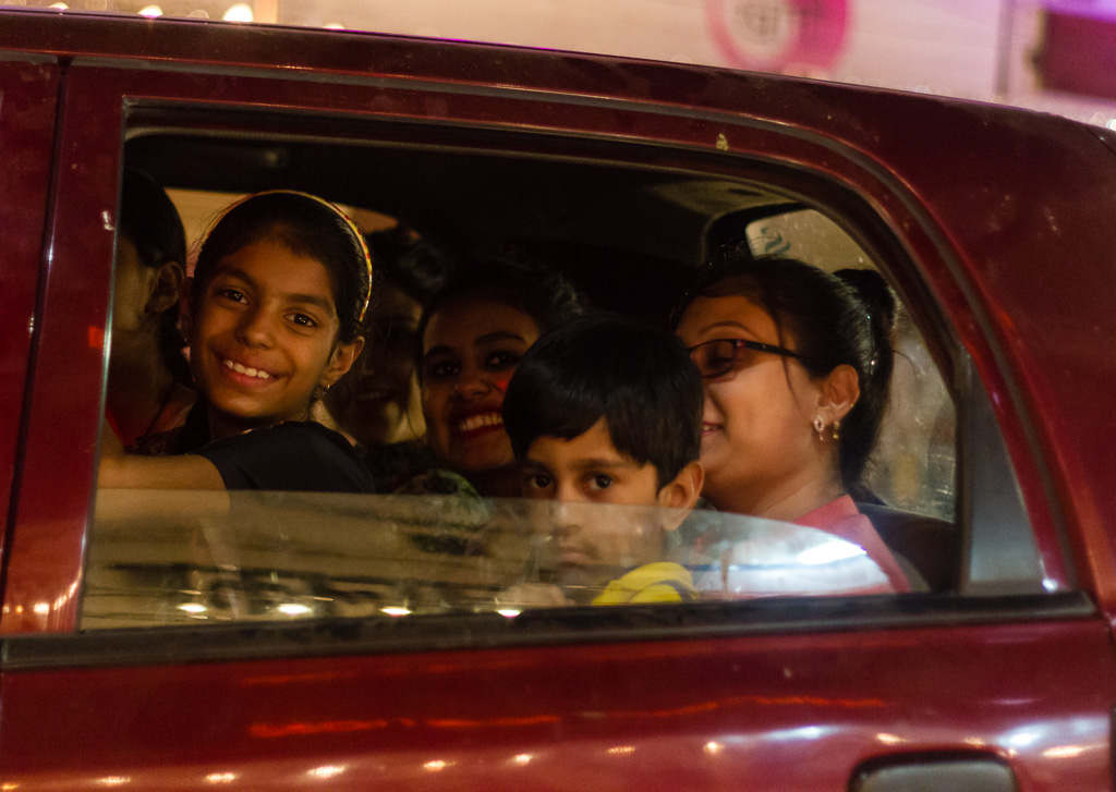 A packed car during Diwali