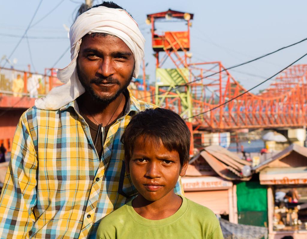 An Indian man and boy at Haridwar