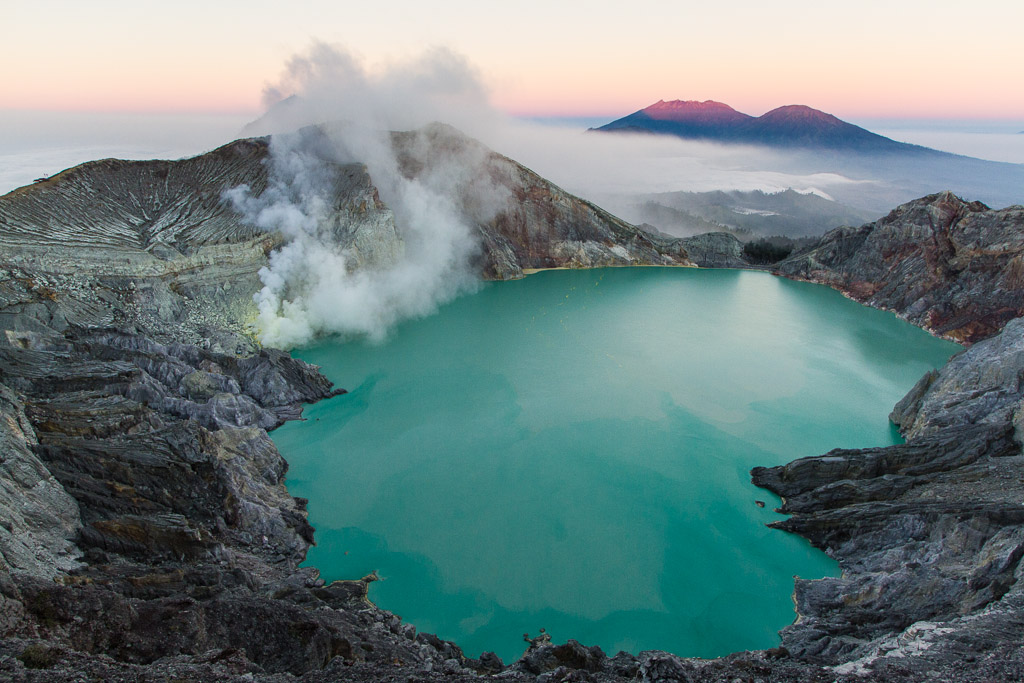 Kawah Ijen lake at sunrise
