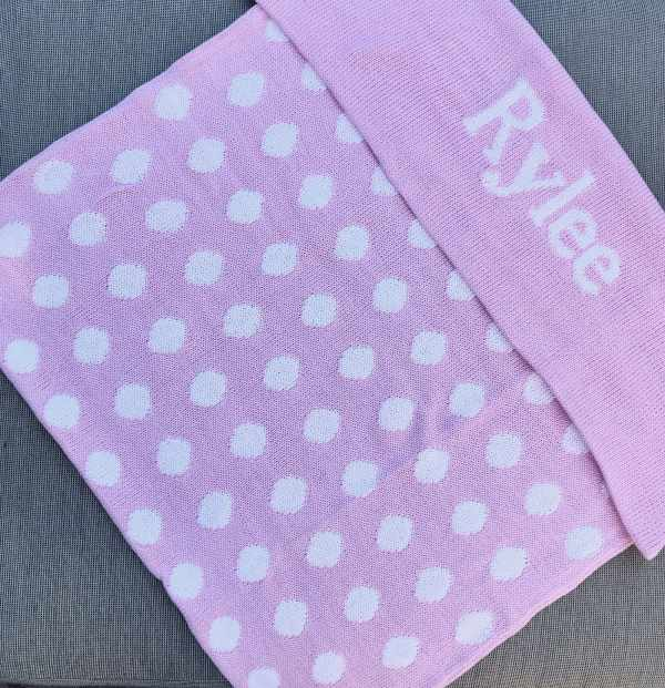 knit polka dot blanket - baby pink and white