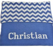 Hand Knit Chevron Blanket with Name